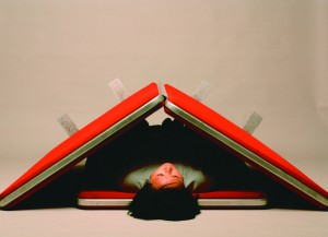 Vanila Netto. Little Red Rugged Rocking Roof. 2004. digital print on aluminium, 72 x 99cm. Edition 1 of 5 Image courtesy the artist and BREENSPACE Sydney and Arc One Gallery Melbourne. Collection Rachel Verghis